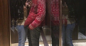 So romantic: Kim K takes a selfie while kissing Kanye West