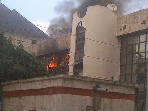 Photos: Fire outbreak at NFF office in Abuja