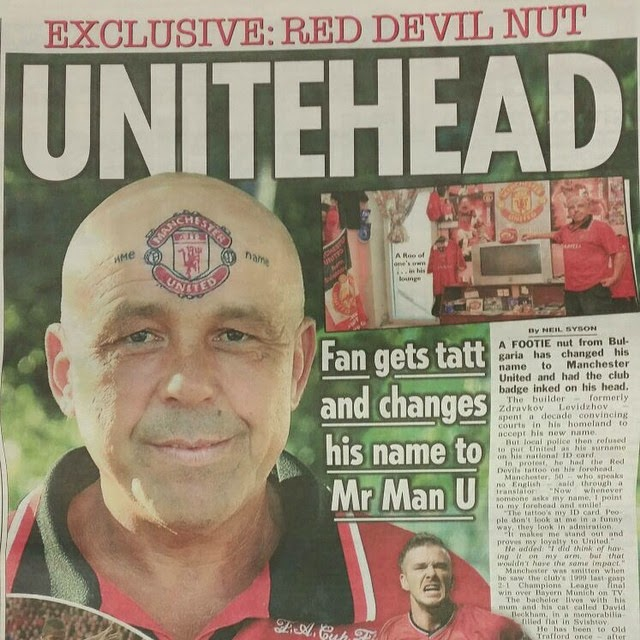 [Photo] Man Gets Manchester United Club Crest Tattoo On His Forehead
