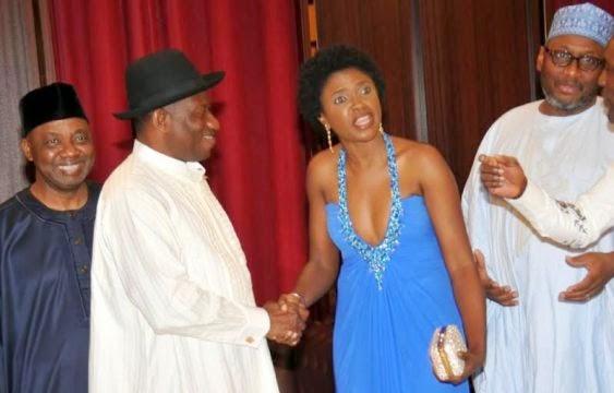 GEJ, VP Sambo, others at private viewing of Omoni Oboli's movie at the villa