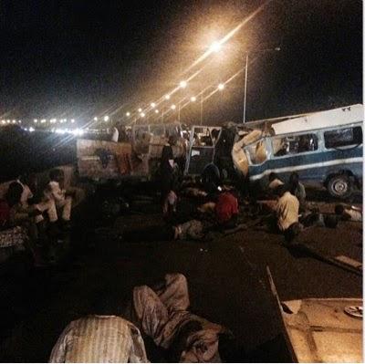 Ghastly Accident on Eko bridge last night, over 15 people dead
