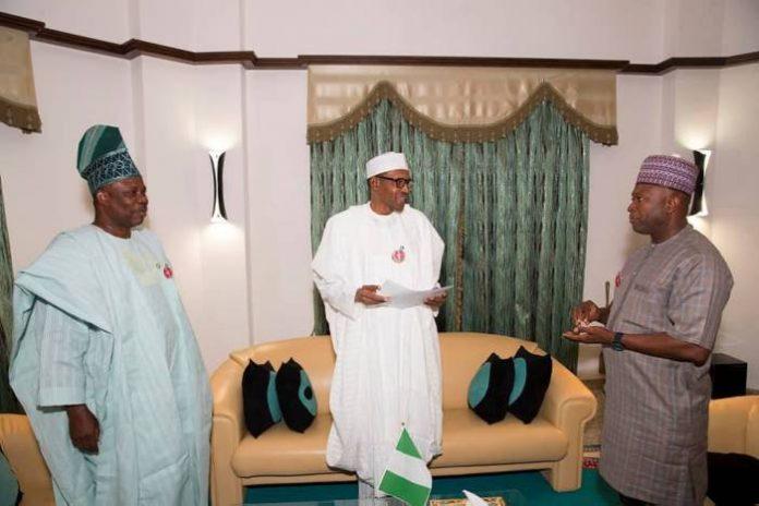 Ibikunle Amosun, APM present Muhammadu Buhari with adoption letter