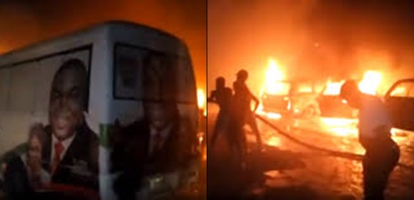 PDP campaign vehicles set on fire in Enugu (VIDEO)