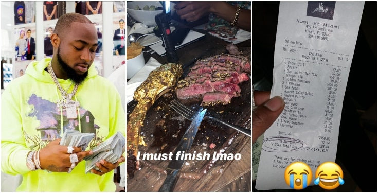SHOCKER: Davido eats 24-carat gold coated meat with N979,200